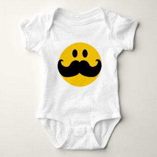 Mustache Smiley (Customizable background color) Baby Bodysuit