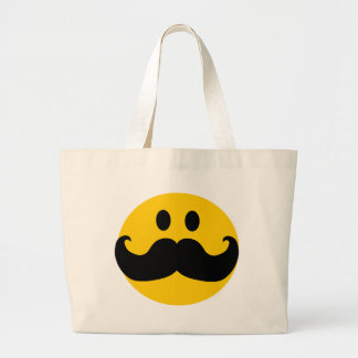 Mustache Smiley (Customizable background color) Large Tote Bag