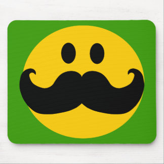 Mustache Smiley (Customizable background color) Mouse Mat