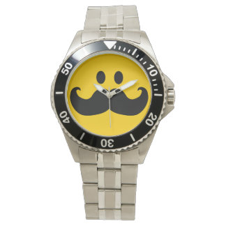 Mustache Smiley face Watch