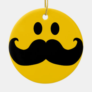 Mustache Smiley Round Ceramic Decoration