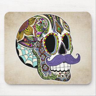 Mustache Sugar Skull Mousepad - Vintage Style