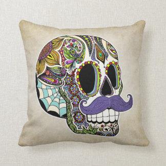 Mustache Sugar Skull Pillow - Vintage Style