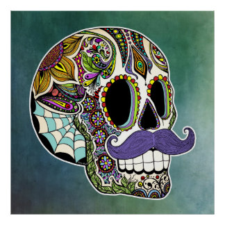 Mustache Sugar Skull Poster - Textured Background