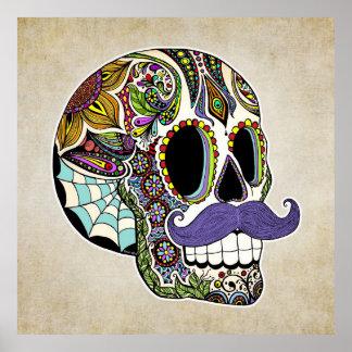 Mustache Sugar Skull Poster - Vintage Style