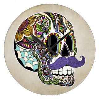 Mustache Sugar Skull Wall Clock