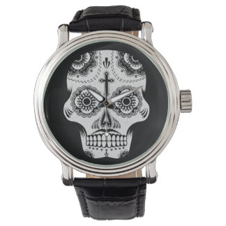 Mustache sugar skull watch