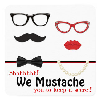 Mustache Surprise Birthday Party Card