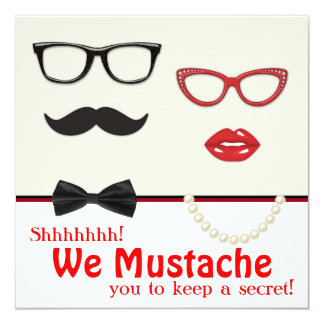 Mustache Surprise Birthday Party Invitations