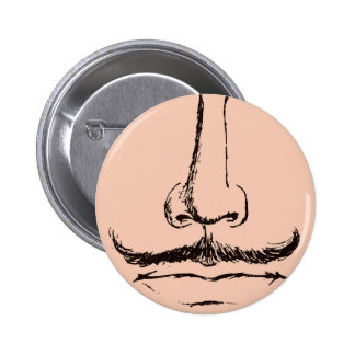 Mustache Surrealist Pinback 6 Cm Round Badge