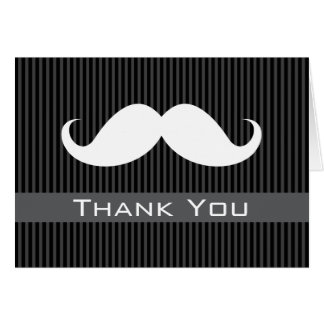 Mustache Thank You with classy gray black stripes Card