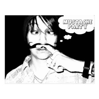 mustache theme party : comic staches postcard
