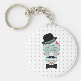 Mustache Top Hat Bicycle Sugar Skull keychain. Basic Round Button Key Ring
