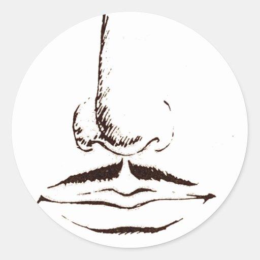 Mustache Vintage Surrealist Round Stickers