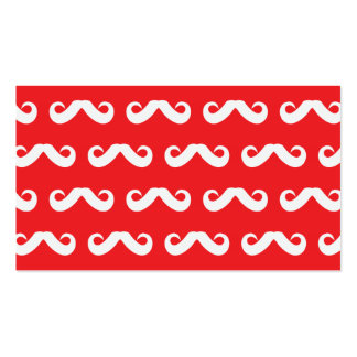 Mustache White Red Business Cards