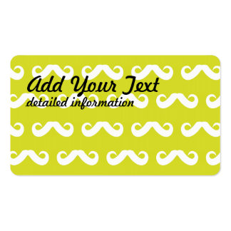 Mustache White Yellow Business Cards