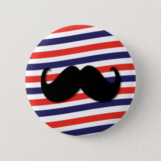 Mustache with red, white and blue stripes 6 cm round badge