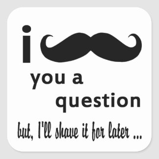 Mustache  You  a Question Gifts Square Sticker