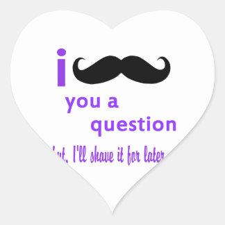 Mustache You a Question Qpc Template Heart Sticker