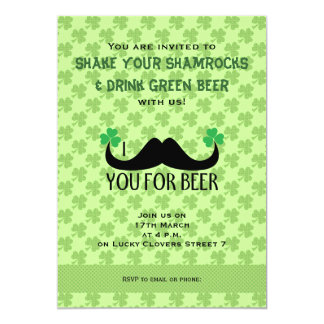Mustache you beer St Patrick Day Clovers Invite