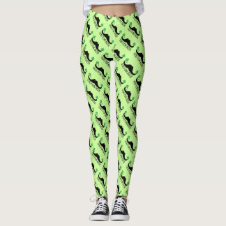 Mustache you for beer St Patrick Day Green Clovers Leggings