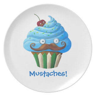 Mustached Cupcake Plate