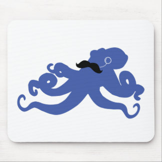mustached octopus with a monocle mousepad