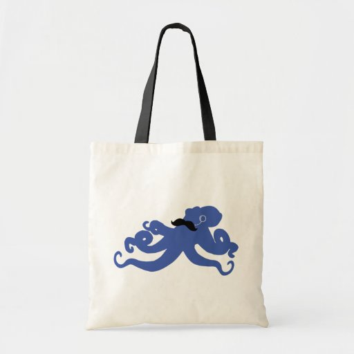 mustached octopus with a monocle tote bag
