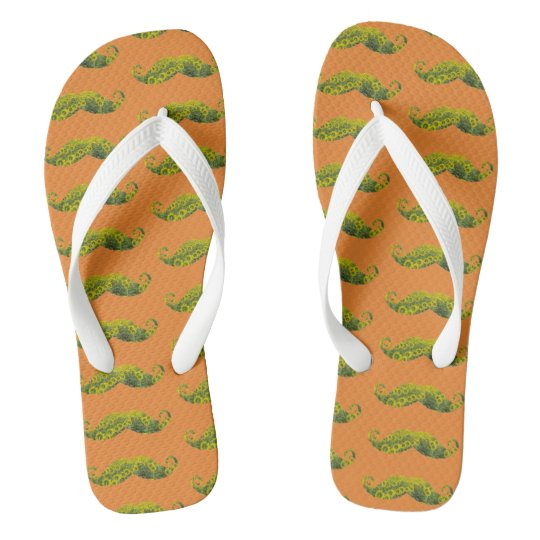 Mustaches Abstract Custom Adult, Wide Straps Flip Flops