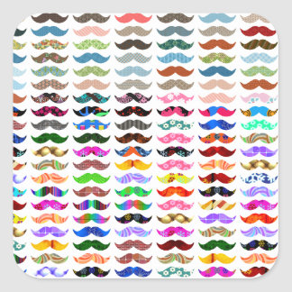 mustaches pattern is funny square sticker
