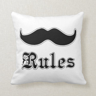 Mustaches Rules Throw Pillows