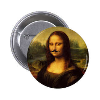 Mustachioed Mona Lisa 6 Cm Round Badge