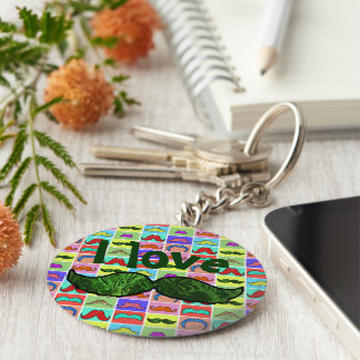 Mustahce pattern funny colorful basic round button key ring