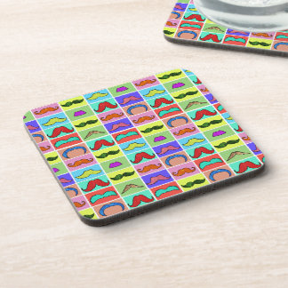 Mustahce pattern funny colorful beverage coasters