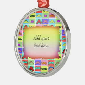 Mustahce pattern funny colorful christmas ornament