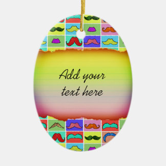 Mustahce pattern funny colorful christmas ornaments