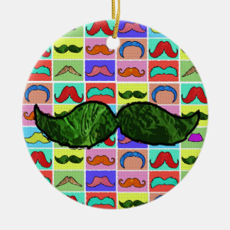 Mustahce pattern funny colorful christmas tree ornament