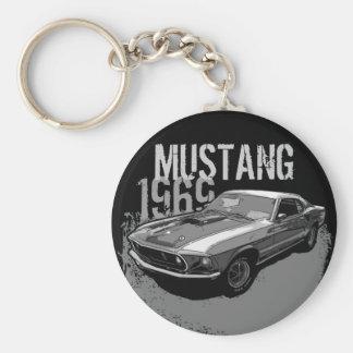 Mustang Basic Round Button Key Ring