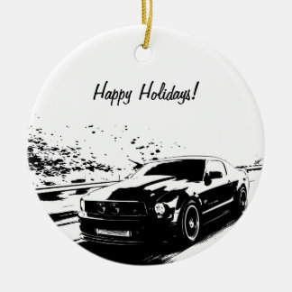 Mustang Black Silhouette Logo Christmas Ornaments