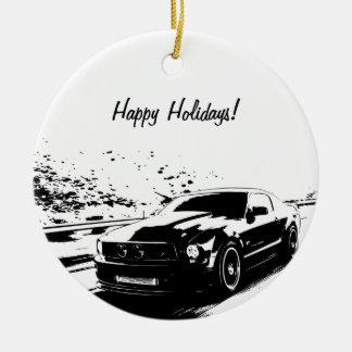 Mustang Black Silhouette Logo Round Ceramic Decoration