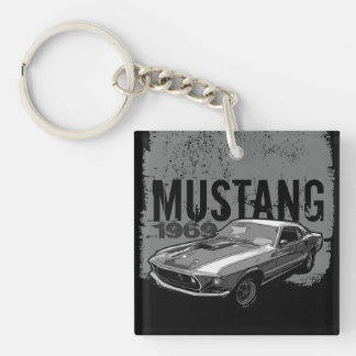 Mustang Double-Sided Square Acrylic Key Ring