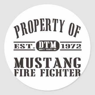 Mustang Fire Fighter Round Stickers