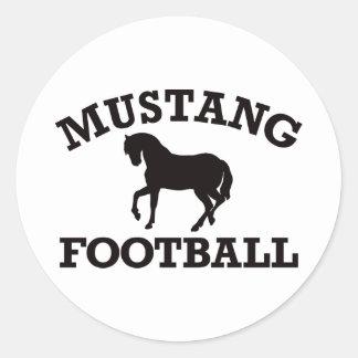 Mustang Football Classic Round Sticker