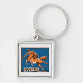Mustang Fruit Vintage Label Silver-Colored Square Key Ring