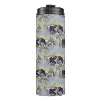 Mustang Mare and Foal Graphic Pattern Thermal Tumbler