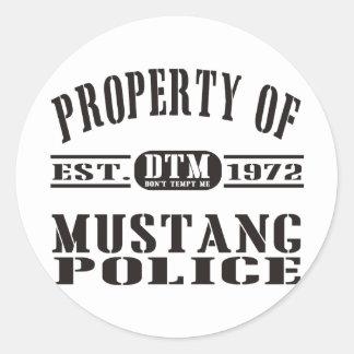 Mustang Police Round Sticker