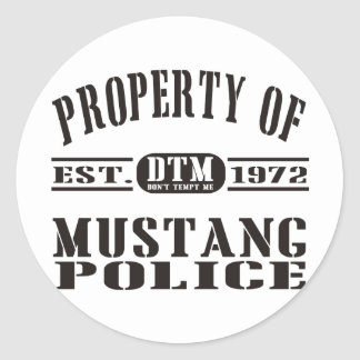 Mustang Police Round Stickers
