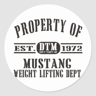 Mustang Weight Lifting! Round Sticker