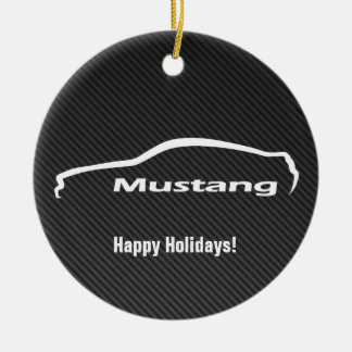 Mustang White Silhouette Logo w/ Faux Carbon Round Ceramic Decoration