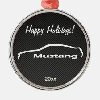 Mustang White Silhouette Logo w/ Faux Carbon Silver-Colored Round Decoration